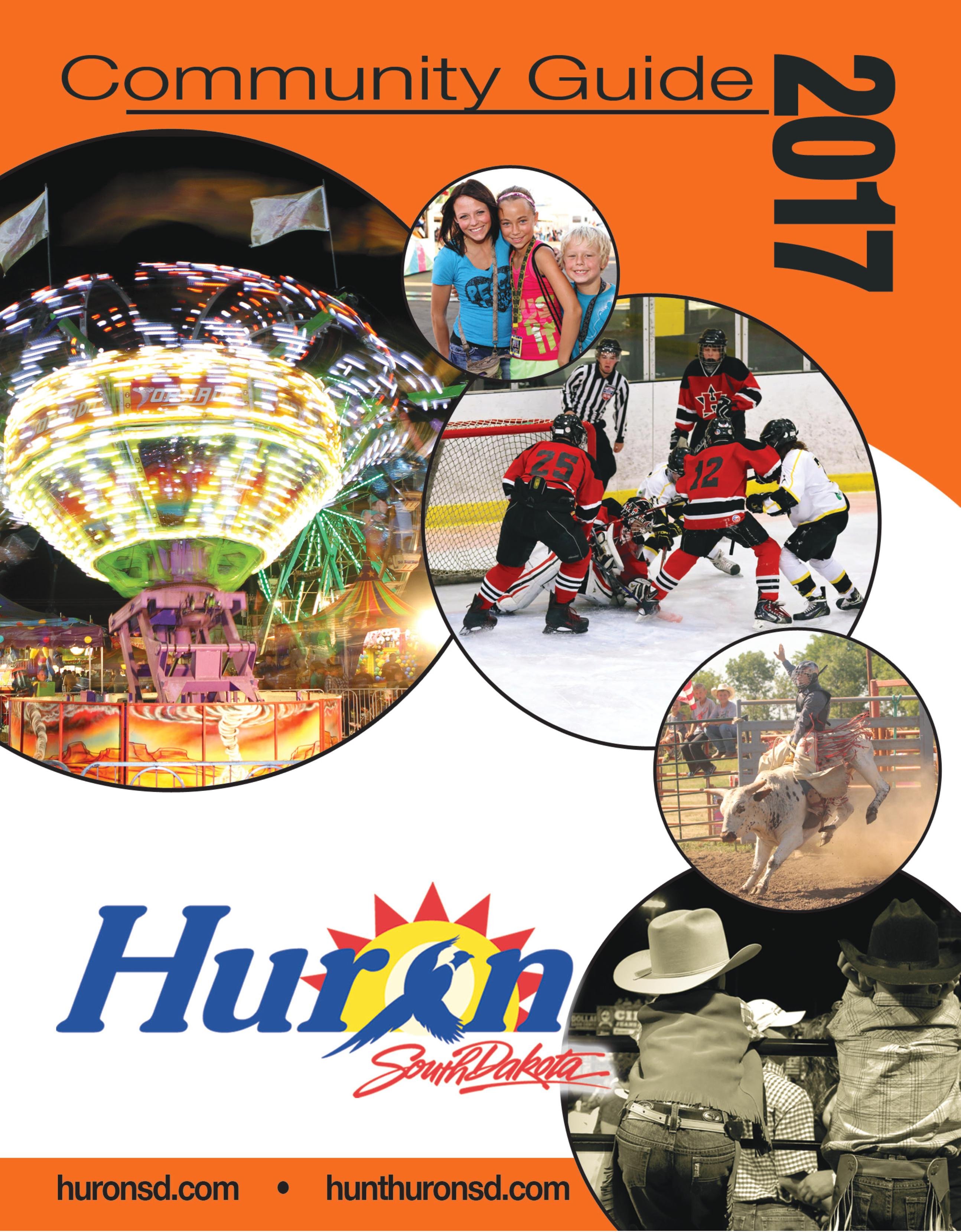 A picture of the cover of the 2016 Huron, SD Community Guide