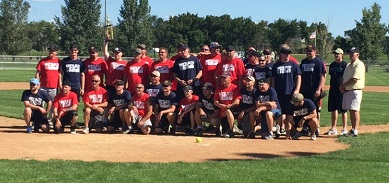 This is a photo of police and fire personnel during the Battle of the Badges softball event
