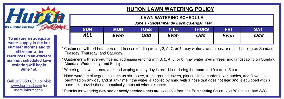 This is a photo showing the lawn watering schedule